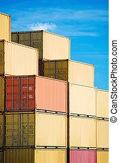 cargaison, fret, récipients, pile, dans, port