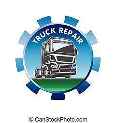 cargaison, fret, réparation, camion, gabarit, logo