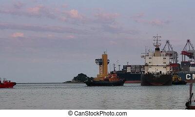 cargaison, (full, assistance, feuilles, bateau, port, hd), remorqueur