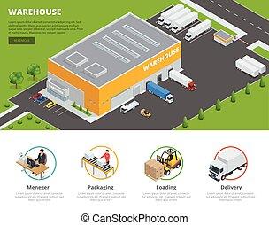 cargaison, gabarit, plat, fret, thème, isométrique, conception, vecteur, ensemble, stockage, bannières, logistique, transportation., illustration, entrepôt, page, goods., toile, 3d