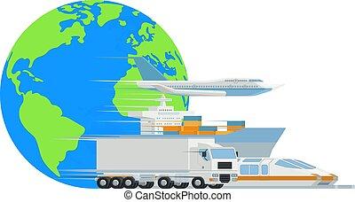 cargaison, globe, conception, logistique, mondiale, transport
