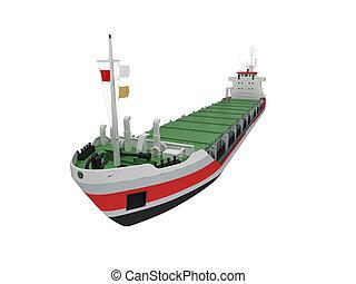 cargaison, grand, isolé, devant, bateau, vue