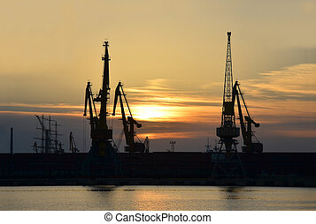 cargaison, grue, coucher soleil, port