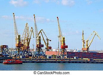 cargaison, grue, dans, port