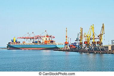 cargaison, grue, et, bateau