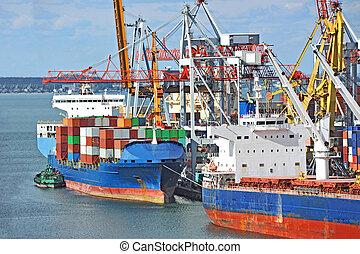cargaison, grue, et, navire porte-conteneurs