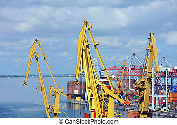 cargaison, grue, navire porte-conteneurs