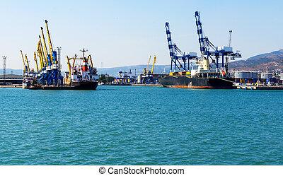 cargaison, grue, port