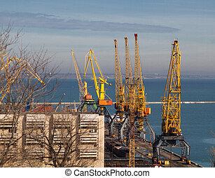 cargaison, grue, port, odessa