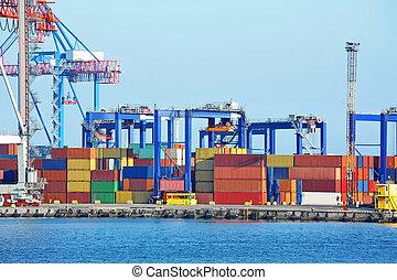 cargaison, grue, récipient, port
