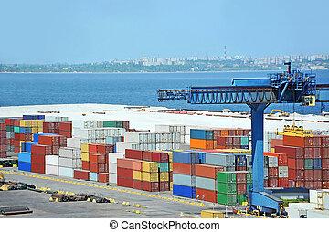 cargaison, grue, récipient, port, sous
