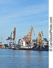 cargaison, grue, train, bateau, charbon