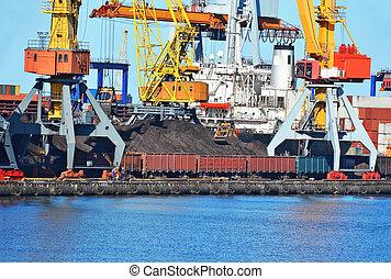 cargaison, grue, train, charbon