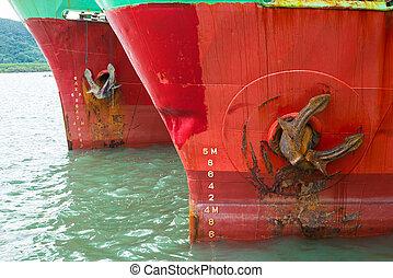 cargaison, haut fin, bateau, ancre, vue