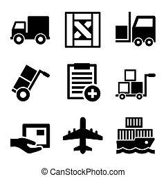 cargaison, icônes, set., vecteur, logistique, expédition, entrepôt