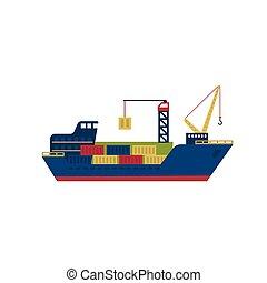 cargaison, illustration, vecteur, containers., bateau, pétrolier