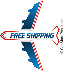 cargaison, image, gratuite, air, expédition, logo