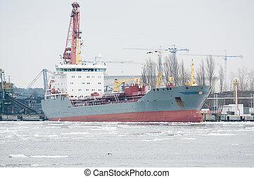 cargaison, industriel, récipient, fonctionnement, bateau fret, grue