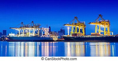 cargaison, industriel, récipient, fonctionnement, crane., bateau fret