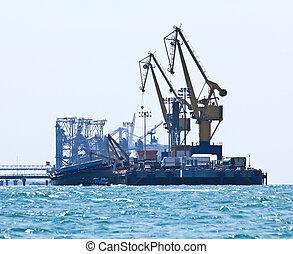 cargaison, industriel, récipient, fonctionnement, pont, bateau fret, grue