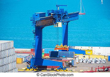cargaison, industriel, récipient, fret, concept., exportation, logistique, importation, bateau