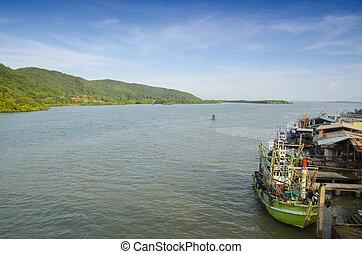 cargaison, industriel, récipient, fret, panorama, mer, bateau