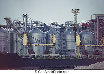 cargaison, industriel, zone, masse, terminal, commerce, elevator., mer, grain, port
