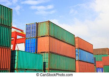 cargaison, intermodal, yard, pile, récipients