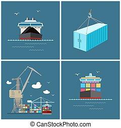 cargaison, international, transport, fret, icônes