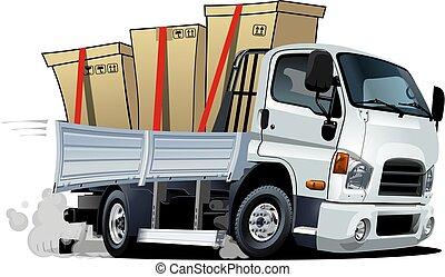 cargaison, isolé, dessin animé, camion livraison, fond, blanc, ou