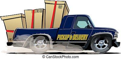 cargaison, isolé, dessin animé, livraison, camionnette, fond, blanc, ou