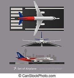 cargaison, isolé, illustration, vecteur, bateau, avion