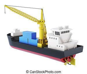 cargaison, isolated., rendre, bateau, grue, 3d