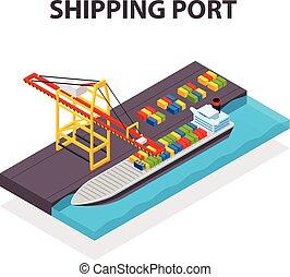 cargaison, isométrique, concept, récipient, chargement, vecteur, bateau, grue, récipients