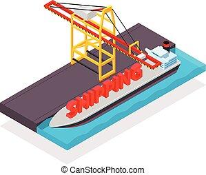 cargaison, isométrique, récipient, vecteur, grue, bateau
