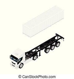 cargaison, isométrique, semi, transport, vue., camion caravane, récipient, boîte