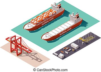 cargaison, isométrique, vecteur, port, éléments