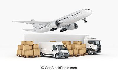 cargaison, large, concept., rendre, mondiale, transport, 3d