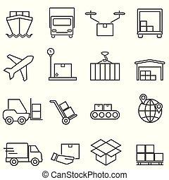 cargaison, ligne, logistique, expédition, icônes