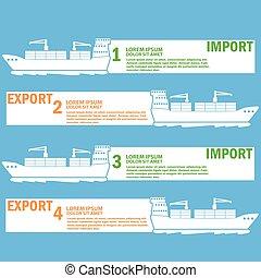 cargaison, limite, exportation, marchandises, importation, blanc, marin, bateau