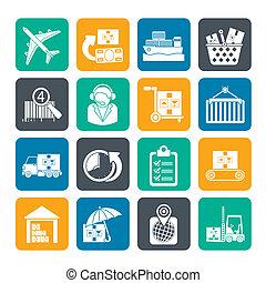 cargaison, logistique, expédition, icônes
