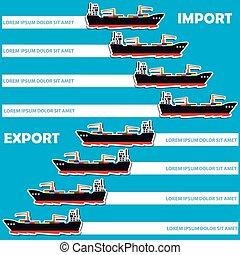cargaison, marchandises, bateau, importation, marin, limite, exportation