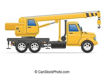 cargaison, marchandises, illustration, vecteur, camion, grue, levage