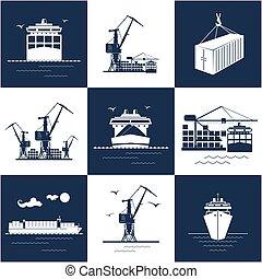 cargaison, marin, ensemble, icônes