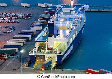 cargaison, marin, port, night., barcelona.