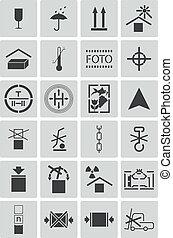 cargaison, marquer, ensemble, icônes, vecteur, noir