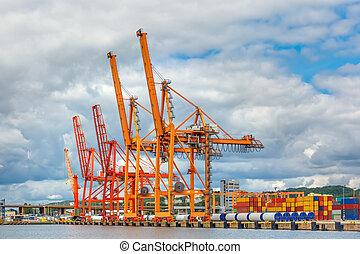cargaison, mer, pologne, gdynia, baltique, port