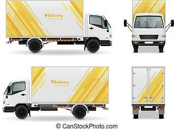 cargaison, mockup, réaliste, conception, publicité, véhicule