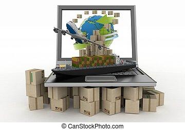 cargaison, ordinateur portable, écran, boîtes, avion, bateau, carton