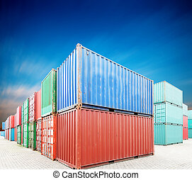 cargaison, pile, récipients, docks